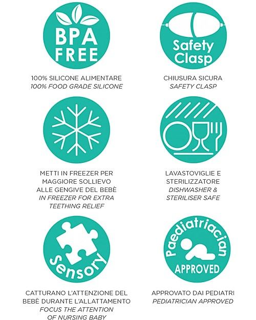 Nibbling Massaggiagengive e Collana di Allattamento 2 in 1 - Macchinina Rossa - 100% Silicone Alimentare Massaggiagengive