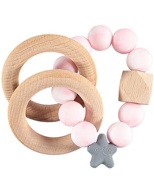 Nibbling Massaggiagengive/Sonaglio 2-in-1 - Marmo Rosa - Legno Naturale e Silicone Alimentare! Massaggiagengive