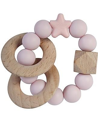 Nibbling Massaggiagengive/Sonaglio 2-in-1 - Stellar Rosa Confetto - Legno Naturale e Silicone Alimentare! Massaggiagengive
