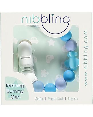 Nibbling Reggiciuccio Universale Morbido - Jetset Blu - 100% Silicone Alimentare e Chiusura a Scomparsa! Ciucci