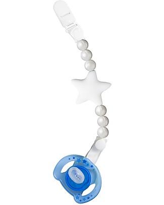 Nibbling Reggiciuccio Universale Morbido - Stellar Bianco Perla - 100% Silicone Alimentare e Chiusura a Scomparsa! Ciucci