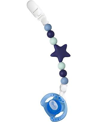 Nibbling Reggiciuccio Universale Morbido - Stellar Blu Navy - 100% Silicone Alimentare e Chiusura a Scomparsa! Ciucci