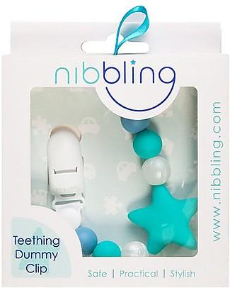 Nibbling Reggiciuccio Universale Morbido - Stellar Turchese/Blu - 100% Silicone Alimentare e Chiusura a Scomparsa! Ciucci