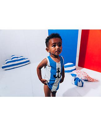 Noé&Zoë Body a Canottiera, Righe XL Blu – Cotone bio elasticizzato Body Manica Corta