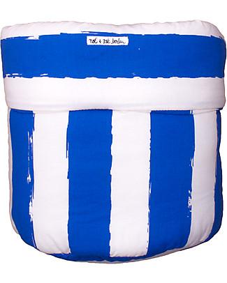 Noé&Zoë Cesto Portaoggetti 35 x 48 cm, Righe XL Blu – 100% cotone bio Contenitori Porta Giochi