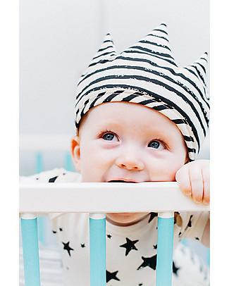 Noé&Zoë Corona Baby Double Face, Stelle/Righe Nere – 100% cotone bio Travestimenti