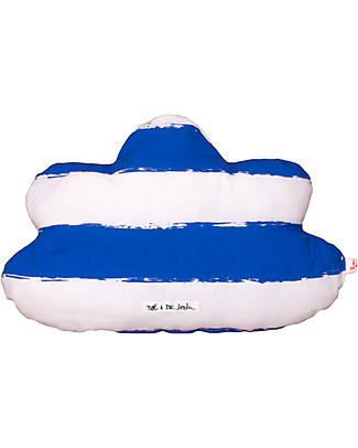 Noé&Zoë Cuscino Nuvola 35 cm, Righe XL Blu – 100% cotone bio Cuscini Arredo