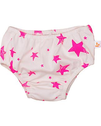 Noé&Zoë Mutandine Baby Bloomer, Stelle Rosa Fluo – 100% cotone bio Pantaloni Corti