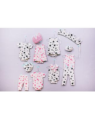 Noé&Zoë Mutandine Baby Copripannolino Bloomer, Stelle Rosa Fluo - 100% cotone bio Pantaloni Corti