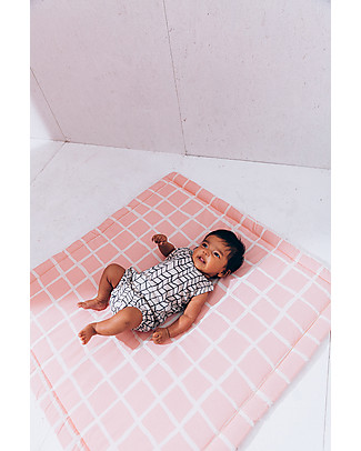 Noé&Zoë Tappeto Imbottito Baby, 85 x 85 cm – Griglia Rosa – 100% cotone Tappeti