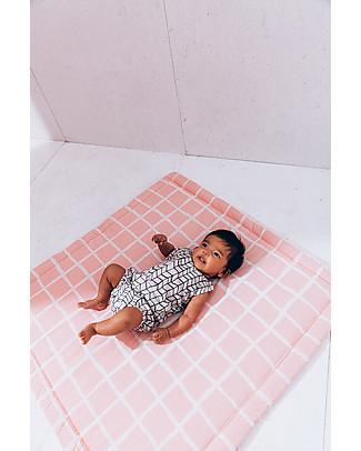 Noé&Zoë Tappeto Imbottito Baby, 85 x 85 cm - Griglia Rosa - 100% cotone Tappeti