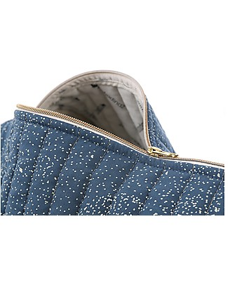 Nobodinoz Borsa Weekend Trapuntata New York, Gold Bubble/Blu - Cotone bio Borse Cambio e Accessori