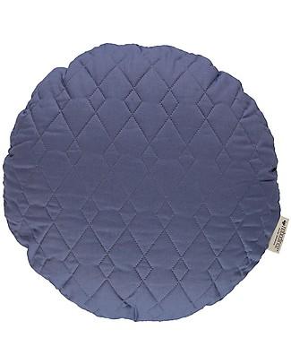 Nobodinoz Cuscino Rotondo Trapuntato Sitges, Blu - 45 cm - Cotone bio Cuscini Arredo