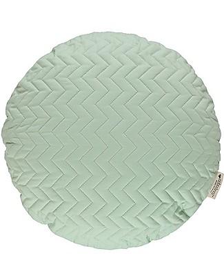 Nobodinoz Cuscino Rotondo Trapuntato Sitges, Verde - 45 cm - Cotone bio Cuscini Arredo