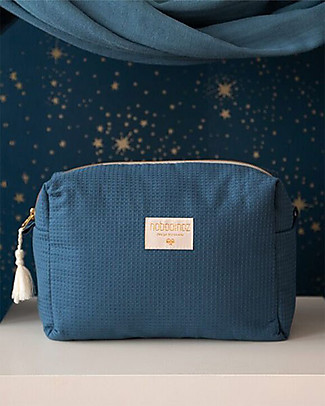 Nobodinoz Diva Waterproof Beauty Case, Blu Notte - 16x25x10 cm - Cotone Bio Trousse & Pochette