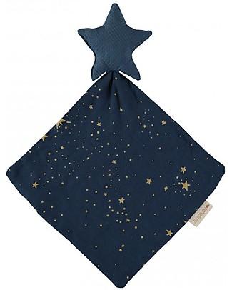 Nobodinoz Doudou Stella, Gold Stella/Blu Notte - 30x30 cm - Cotone bio Doudou