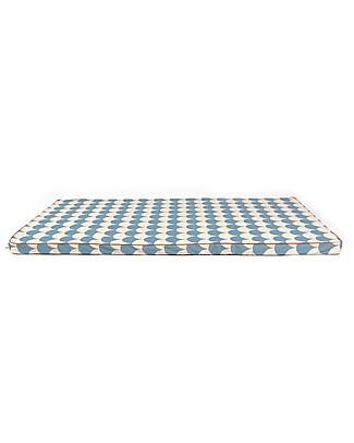 Nobodinoz Materasso e Tappeto Gioco Saint Tropez, Onde Azzurro - 120x60x4 cm - Cotone bio Materassi
