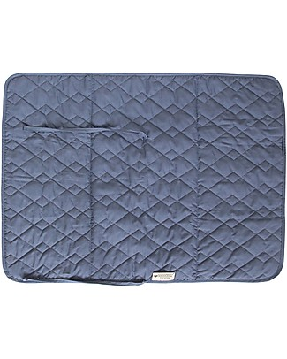 Nobodinoz Quilted Portable Changing Pad Marbella, Aegean Blu - Organic cotton and bamboo Changing Mats And Covers