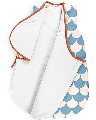 Nobodinoz Sacco Nanna Montreal 1,7 Tog, Onde Blu (3-6 mesi) - Cotone bio Sacchi Nanna Pesanti