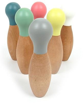 Nobodinoz Set Bowling in Legno di Faggio - Diverte e Decora Giochi da Tirare e Spingere