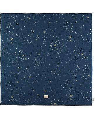 Nobodinoz Tappeto Gioco Quadrato Colorado, Gold Stella/Blu - 100x100 cm - Cotone bio Tappeti