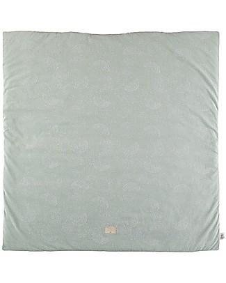 Nobodinoz Tappeto Gioco Quadrato Colorado, White Bubble/Aqua - 100x100 cm - Cotone bio Tappeti