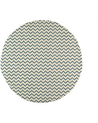 Nobodinoz Tappeto Rotondo Apache Small, Zig Zag Blu - Cotone bio Coperte