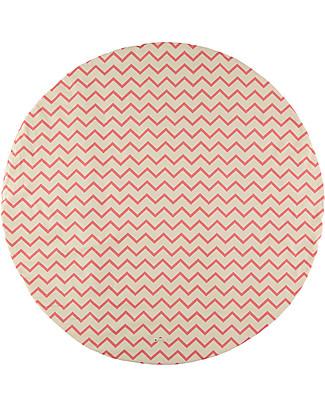 Nobodinoz Tappeto Rotondo Apache Small, Zig Zag Rosa - Cotone bio Coperte