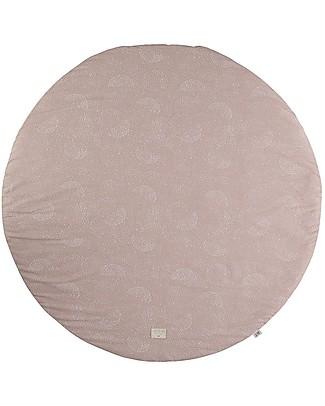 Nobodinoz Tappeto Rotondo Luna Piena Small, White Bubble/Rosa - 105 cm - Cotone bio Tappeti