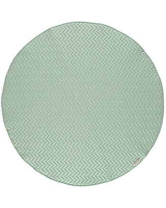 Nobodinoz Tappeto Rotondo Trapuntato Kiowa, Verde - 105 cm - Cotone bio Tappeti