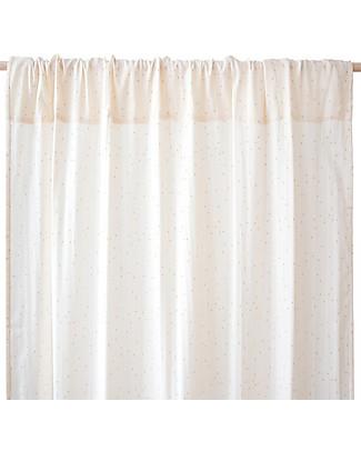 Nobodinoz Tenda per Finestra Utopia, Naturale/Pois Dorati - 146x280 cm - 100% Cotone Tende
