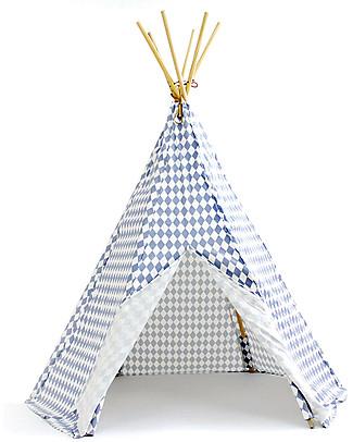 Nobodinoz Tenda Tipi Arizona, Diamanti Azzurro - Cotone bio e legno di pino Tende Gioco