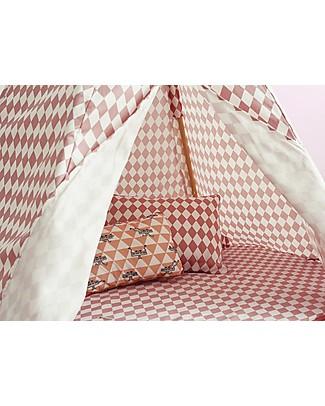 Nobodinoz Tenda Tipi Arizona, Diamanti Rosa - Cotone bio e legno di pino Tende Gioco