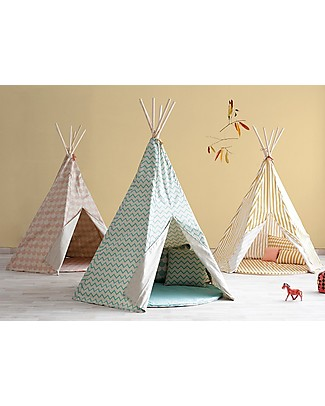Nobodinoz Tenda Tipi Arizona, Diamanti Verde - Cotone bio e legno di pino Tende Gioco