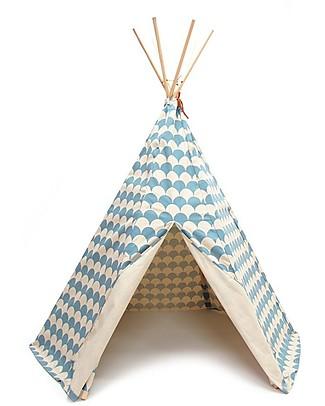 Nobodinoz Tenda Tipi Arizona, Onde Azzurro - Cotone bio e legno di pino Tende Gioco