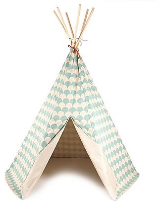 Nobodinoz Tenda Tipi Arizona, Onde Verde - Cotone bio e legno di pino Tende Gioco