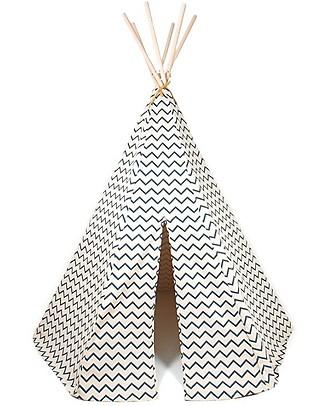 Nobodinoz Tenda Tipi Arizona, Zig Zag Azzurro - Cotone bio e legno di pino Tende Gioco