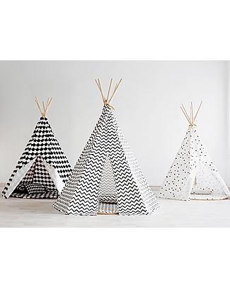 Nobodinoz Tenda Tipi Arizona, Zig Zag Nero - Cotone bio e legno di pino Tende Gioco