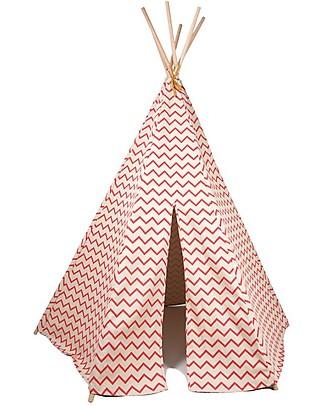 Nobodinoz Tenda Tipi Arizona, Zig Zag Rosa - Cotone bio e legno di pino Tende Gioco