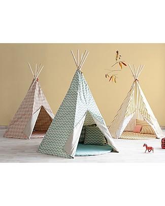 Nobodinoz Tenda Tipi Arizona, Zig Zag Verde - Cotone bio e legno di pino Tende Gioco