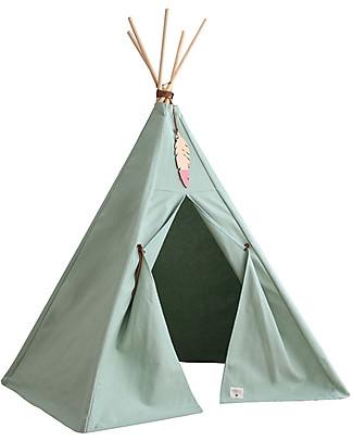 Nobodinoz Tenda Tipi Nevada, Verde - Cotone bio e legno Tende Gioco