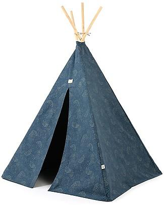 Nobodinoz Tenda Tipi Phoenix, Gold Bubble/Blu - Cotone bio e legno di pino Tende Gioco