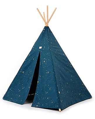 Nobodinoz Tenda Tipi Phoenix, Gold Stella/Blu - Cotone bio e legno di pino Tende Gioco