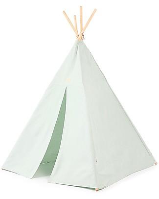 Nobodinoz Tenda Tipi Phoenix, White Bubble/Acqua - Cotone bio e legno di pino Tende Gioco