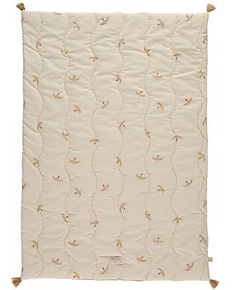 Nobodinoz Trapunta Baby Fuji 70x100 cm, Uccellini/Natural - Cotone bio Coperte