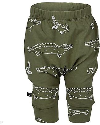 Noeser Pantaloni Corti Stampa Coccodrillo, Woody Green  – Cotone Bio Pantaloni Corti