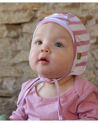Nui Organics Cuffia Neonato Pilot Cap - Righe Rosa e Bianche - Lana Merino Bio (non pizzica e non irrita!) Cappelli