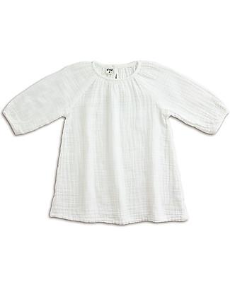 Numero 74 Abito Bimba Nina - Bianco - Doppia Mussola di Cotone Vestiti