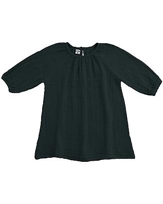 Numero 74 Abito Bimba Nina, Grigio Scuro - Taglia L (5-6 anni)- Doppia Mussola di Cotone Vestiti