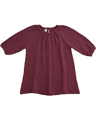 Numero 74 Abito Bimba Nina, Rosso - Taglia XL (7-8 anni)- Doppia Mussola di Cotone Vestiti